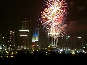 Fireworks over Miami, Florida, USA on American...