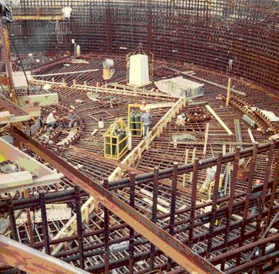 Core construction at Number 2 reactor; North Anna Nuclear Power Station, Louisa County, Virginia; summer 1975 (photo by Jan Thomas)