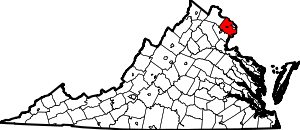 Map of Virginia highlighting Fairfax County