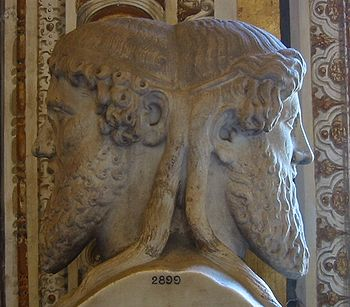 English: Bust of the god Janus, Vatican museum, .