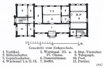 English: Plan from ground floor of train stati...